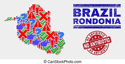 Composition of Rondonia State Map Sign Mosaic and Scratched No Antibiotic Seal