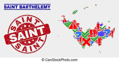 Composition of Saint Barthelemy Map Sign Mosaic and Distress Saint Stamp Seal