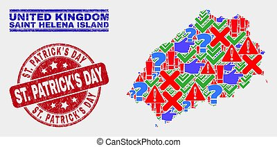 Composition of Saint Helena Island Map Symbol Mosaic and Scratched St. Patrick'S Day Watermark