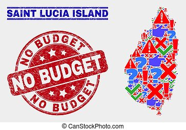 Composition of Saint Lucia Island Map Symbol Mosaic and Scratched No Budget Watermark