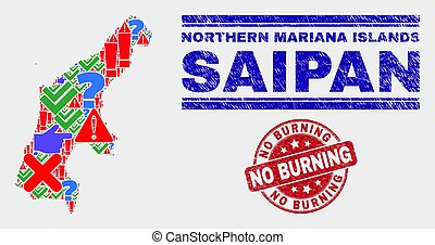 Composition of Saipan Island Map Sign Mosaic and Distress No Burning Watermark