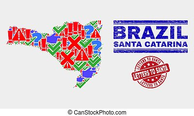 Composition of Santa Catarina State Map Sign Mosaic and Scratched Letters to Santa Seal