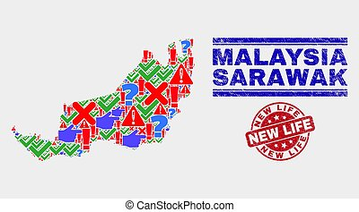 Composition of Sarawak State Map Sign Mosaic and Scratched New Life Watermark