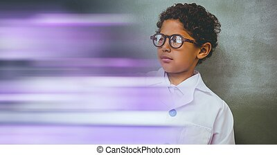 Composition of schoolboy with protective glasses in school laboratory with purple motion blur