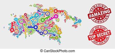 Composition of Secret Saint John Island Map and Distress #Amazing Seal