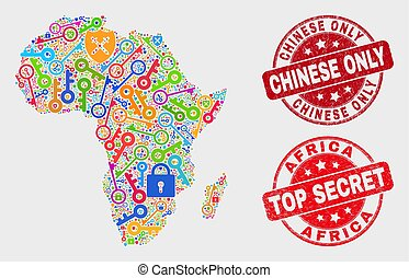 Composition of Secure Africa Map and Distress Chinese Only Stamp Seal