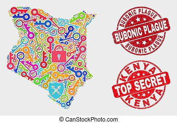 Composition of Secure Kenya Map and Grunge Bubonic Plague Seal
