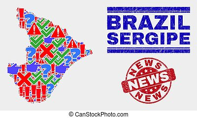 Composition of Sergipe State Map Symbol Mosaic and Grunge News Stamp