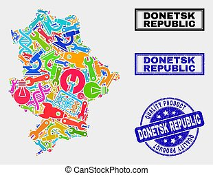 Composition of Service Donetsk Republic Map and Quality Product Stamp Seal