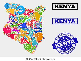 Composition of Service Kenya Map and Quality Product Stamp