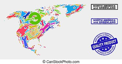 Composition of Service North America and Greenland Map and Quality Product Watermark