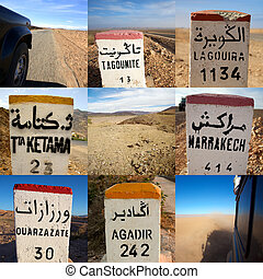 Composition of signs road in Morocco