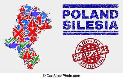 Composition of Silesian Voivodeship Map Symbol Mosaic and Scratched New Year'S Sale Seal