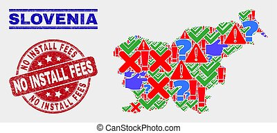 Composition of Slovenia Map Symbol Mosaic and Distress No Install Fees Seal