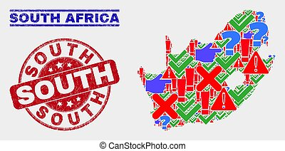 Composition of South African Republic Map Symbol Mosaic and Distress South Stamp Seal