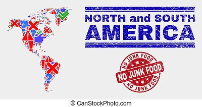 Composition of South and North America Map Symbol Mosaic and Scratched No Junk Food Stamp Seal