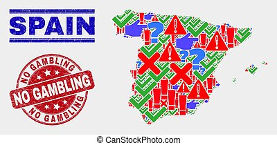 Composition of Spain Map Sign Mosaic and Grunge No Gambling Stamp Seal