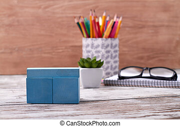 Composition of stationery accessories.