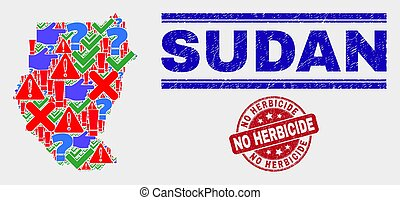 Composition of Sudan Map Sign Mosaic and Distress No Herbicide Stamp