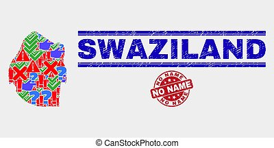 Composition of Swaziland Map Symbol Mosaic and Scratched No Name Stamp
