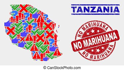 Composition of Tanzania Map Sign Mosaic and Scratched No Marihuana Stamp
