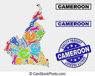 Composition of Technology Cameroon Map and Quality Product Seal