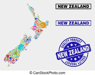 Composition of Technology New Zealand Map and Quality Product Seal