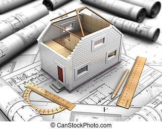 Composition of the mockup of house and blueprints - 3d...
