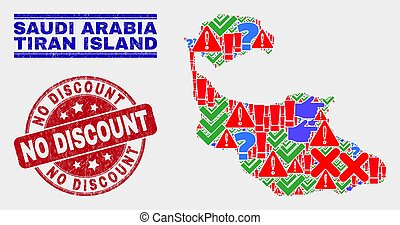 Composition of Tiran Island Map Sign Mosaic and Distress No Discount Stamp