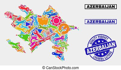 Composition of Tools Azerbaijan Map and Quality Product Stamp Seal