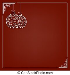 Composition of two white delicate Christmas balls in retro style.