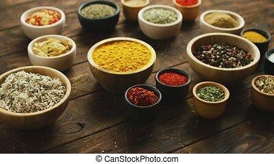 Composition of various spices and condiments - Arrangement...