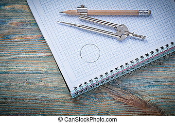Composition of vintage divider pencil copybook on wooden board c