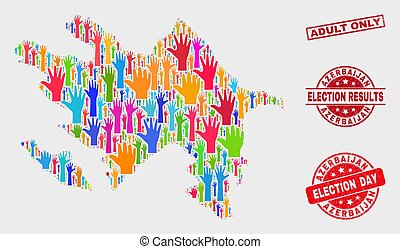 Composition of Vote Azerbaijan Map and Distress Adult Only Stamp Seal