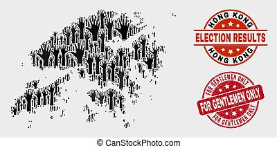 Composition of Voting Hong Kong Map and Grunge For Gentlemen Only Stamp Seal