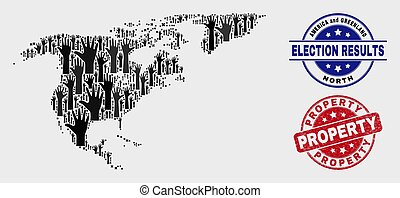 Composition of Voting North America and Greenland Map and Grunge Property Stamp Seal