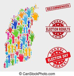 Composition of Voting Shanxi Province Map and Scratched Recommended Watermark