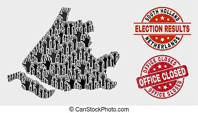 Composition of Voting South Holland Map and Distress Office Closed Stamp
