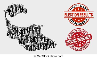 Composition of Voting Tiran Island Map and Scratched Official Insurance Stamp