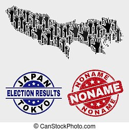 Composition of Voting Tokyo Prefecture Map and Distress Noname Stamp