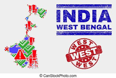 Composition of West Bengal State Map Symbol Mosaic and Scratched West Stamp Seal