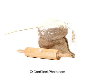 Composition of wheat flour in sack.