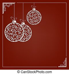 Composition of white elegant christmas balls in retro style with pattern and frame.