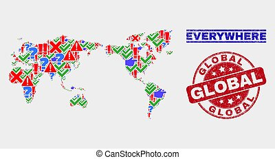 Composition of World Map Sign Mosaic and Scratched Global Seal