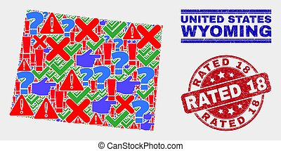 Composition of Wyoming State Map Sign Mosaic and Distress Rated 18 Stamp