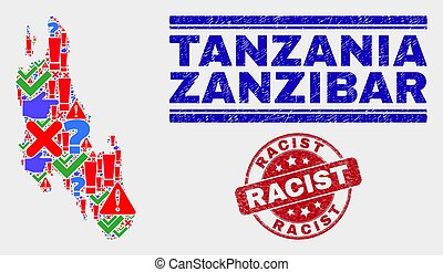 Composition of Zanzibar Island Map Symbol Mosaic and Scratched Racist Seal