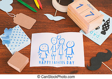 composition, pères, dessin, jour, enfant