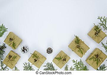 composition., płaski, robiony, gałęzie, przestrzeń budowa, górny, sosna, boże narodzenie, tło., dary, prospekt, biały, kopia, pieśń