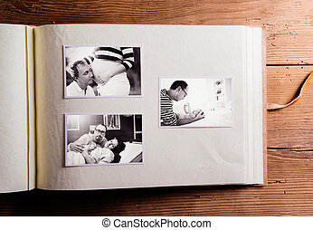 composition., pictures., album, photo, jour pères, noir...