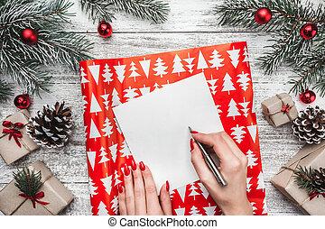 composition., plat, poser, noël, année, nouveau, heureux, vue dessus